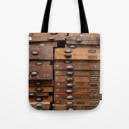Wooden cabinet with drawers Tote Bag