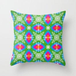 White design on pink, orange, green, and blue pattern Throw Pillow