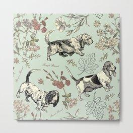 BASSET DOGS  & FLOWERS Metal Print