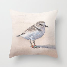 Monterey Bay Snowy Plover Throw Pillow