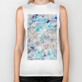 psychedelic geometric square pattern abstract background in blue and dark blue Biker Tank