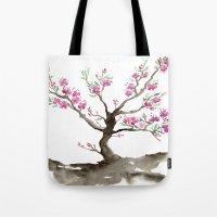 sakura Tote Bags featuring Sakura by Brazen Edwards