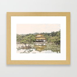 Kinkaku-ji Temple Gold Kyoto Japan Artwork Framed Art Print