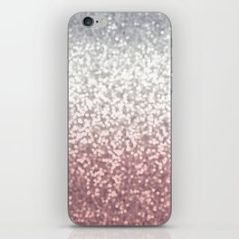 BLUSH ADN SILVER GLITTER OMBRE iPhone Skin