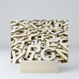Pile of Mixed Wooden Letters Close Up Mini Art Print