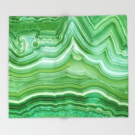 Agate crystal green Throw Blanket