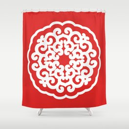 Red Asian Moods Mandalla Shower Curtain