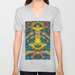 Interlocking ghosts yellow Unisex V-Neck