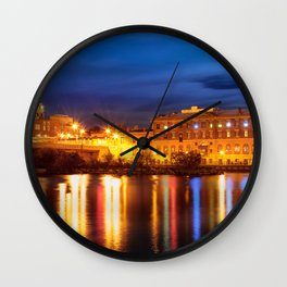Oswego at Night Wall Clock