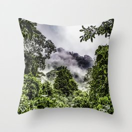 Clouds Blowing through the Mountains of the Chocoyero-El Brujo Nature Reserve in Nicaragua Throw Pillow