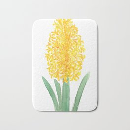 yellow hyacinth watercolor Bath Mat