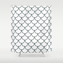 Steel Grey Fish Scales Pattern Shower Curtain