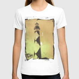 Painting of Cape Lookout lighthouse w/ faux photo border- Outer Banks, North Carolina T-shirt