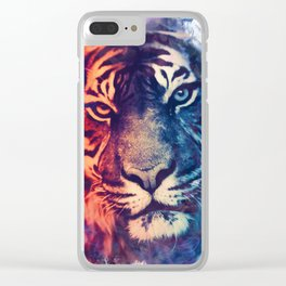 Tiger Portrait Smokey Watercolor Clear iPhone Case
