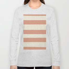 Earthen Trail Pink 4-26 Hand Drawn Fat Horizontal Lines on Dover White 33-6 Long Sleeve T-shirt