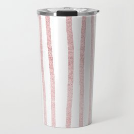 Simply Drawn Vertical Stripes in Rose Gold Sunset Travel Mug
