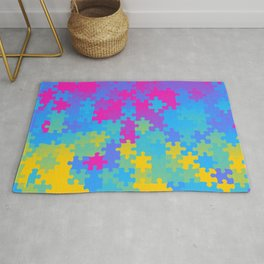 Pansexual Pride Puzzle Pieces Pattern Rug