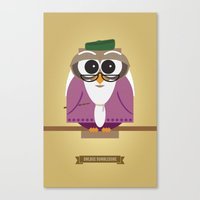 dumbledore Canvas Prints featuring Owlbus Dumbledore by Famous Owls