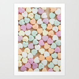 Delicious Candy Hearts Art Print