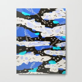 Spotted Abstract in Neon Blue Metal Print