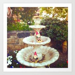 Fountain Gnomes Art Print