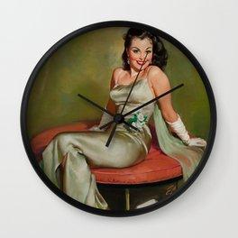 Pin Up Girl in Pretty Satin Dress Wall Clock
