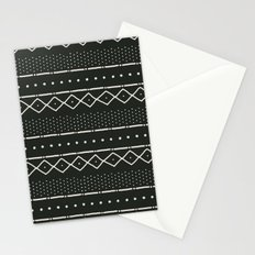 Mudcloth in bone on black Stationery Cards