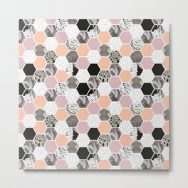 Pattern of marble hexagons and tropical textures Metal Print