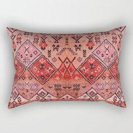 N52 - Pink & Orange Antique Oriental Traditional Moroccan Style Artwork Rectangular Pillow