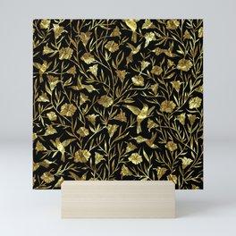 Black and gold foil humming birds & leafs pattern Mini Art Print