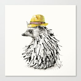 Hedgehog With Straw Hat Canvas Print