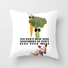 don't beat your meat. Throw Pillow