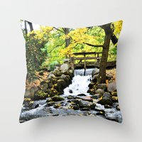 waterfall Throw Pillows featuring Waterfall by Juliana RW