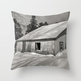 Abandoned Winter Country House Throw Pillow