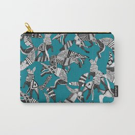 woodland fox party teal blue Carry-All Pouch
