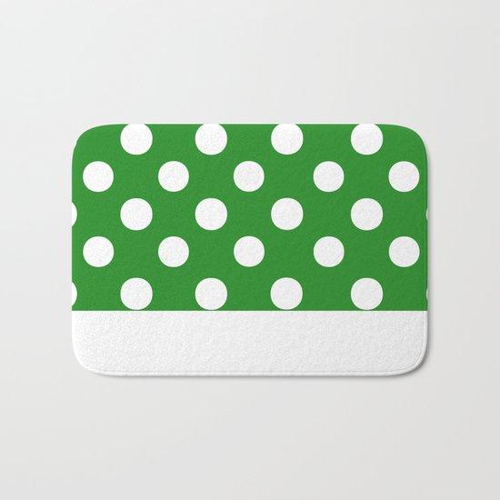 Polka Dots (White/Forest Green) Bath Mat