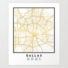 DALLAS TEXAS CITY STREET MAP ART Art Print