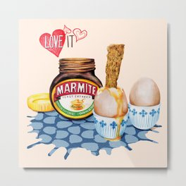 Marmite Watercolour food illustration Metal Print