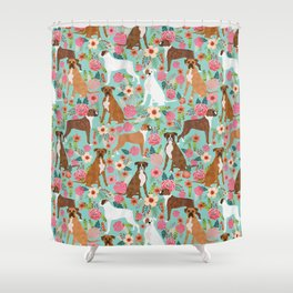 Boxer dog breed florals mint pastel turquoise cute pet portrait animal fur baby must have gifts  Shower Curtain