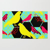 birdy Area & Throw Rugs featuring Birdy by Claire Smillie