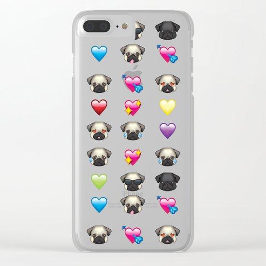 Emoji Pug Clear iPhone Case