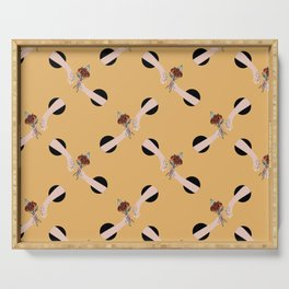 In Love - hands with flowers - MUSTARD #pattern Serving Tray