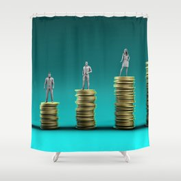 Finance Wealth Increase with Business People Standing on Chart of Gold Coins Shower Curtain