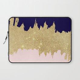 Modern navy blue blush pink gold glitter brushstrokes Laptop Sleeve