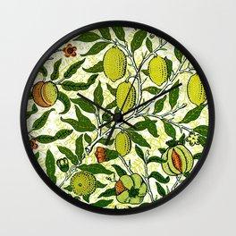 William Morris Exotic Fruit, Lemons and Pomegranates Wall Clock
