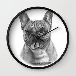 French bulldog graphite pencil drawing Wall Clock