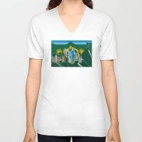 rio de janeiro V-neck T-shirts featuring Rio de Janeiro skyline by siloto