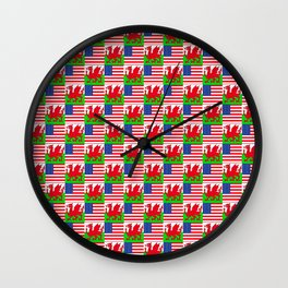 Mix of flag : USA and Wales Wall Clock