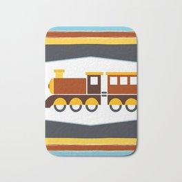 Kids Toy Train Stripes Bath Mat