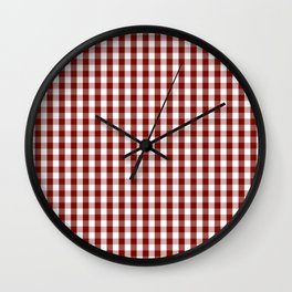 Large Vintage New England Shaker Dark Barn Red Milk Paint Gingham Check Plaid Wall Clock